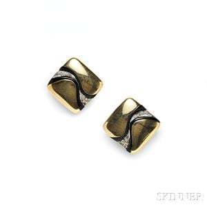 14kt Gold, Onyx, and Diamond Earclips