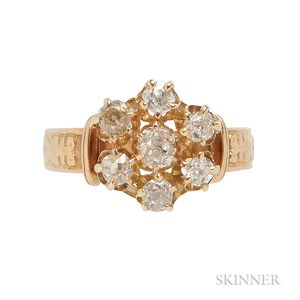 Gold and Diamond Cluster Ring