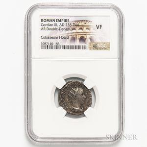 Roman Empire, Gordian III AR Double Denarius, Colosseum Hoard, NGC VF.