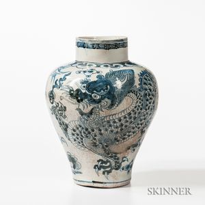Blue and White Dragon Jar