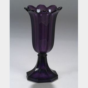 Amethyst Pressed Glass Tulip Vase