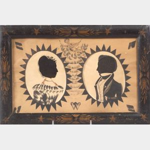 American School, 19th Century      Double Silhouette Portraits of a Lady and Gentleman with Cupid and Hearts.