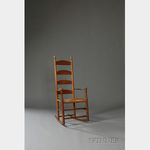 Shaker Tiger Maple and Cherry  Armed Rocking Chair