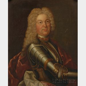 Continental School, 18th Century Style      Portrait of a Gentleman in Armor