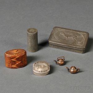 "Four Small Boxes and Two ""ONE CENT"" Miniature Copper Teapots"