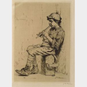 John George Brown (Anglo/American, 1831-1913)  Boy with Flute.