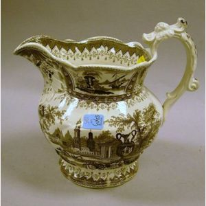 T. Mayer Brown and White Canova Pattern Transfer Decorated Staffordshire Pitcher.