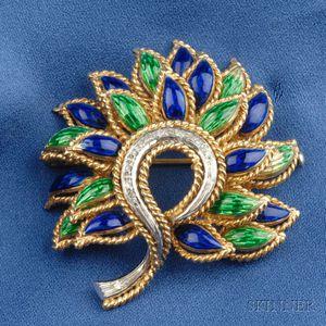 18kt Gold, Enamel and Diamond Flower Brooch