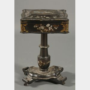 Victorian Mother of Pearl Inlaid Black Lacquered Papier Mache Work Table