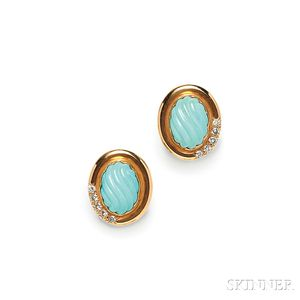 14kt Gold, Turquoise, and Diamond Earclips