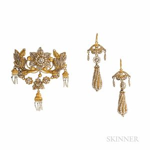 Antique Gold and Seed Pearl Earrings and Brooch
