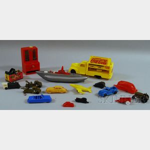 Group of Plastic Toy Vehicles and Other Toys