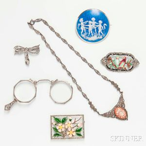 Group of Marcasite and Enameled Jewelry