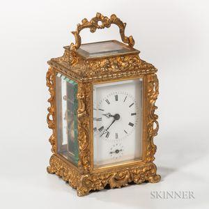 Repousse Gilt-brass Carriage Clock