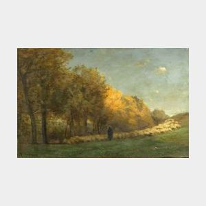 Achille Francois Oudinot (French, 1820-1891)  Autumn Pasture with a Grazing Flock