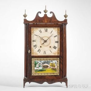 Ephraim Downes Mahogany Pillar and Scroll Shelf Clock