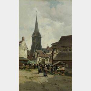 Jules G. Bahieu (Belgian, ac. 1885-1895)  The Produce Market