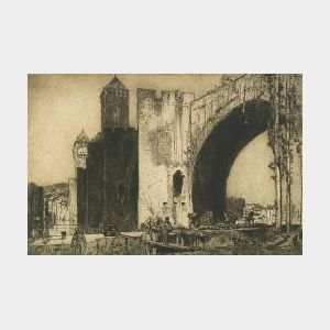 Sir Frank Brangwyn (British, 1867-1956)  Le Pont de Valentre a Cahors