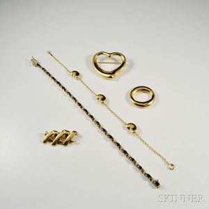 Four 18kt Gold Tiffany & Co. Jewelry Items