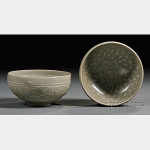 Pair of Celadon Inlaid Cups