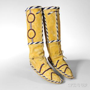 Apache Beaded Hide High-top Moccasins