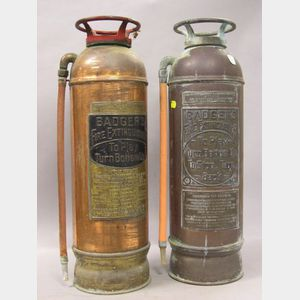 Two Badgers Copper Plated Brass Fire Extinguishers.