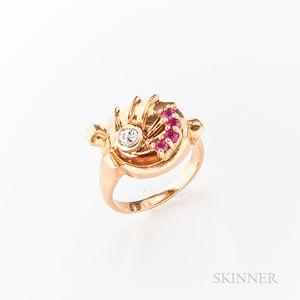 Retro 14kt Rose Gold Gem-set Ring