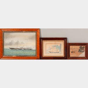 American School, 19th/20th Century    Three Framed Maritime Works on Paper: British Steamship