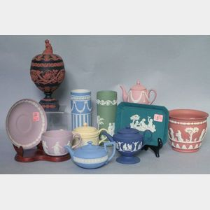 Eleven Pieces of Modern Wedgwood Jasper Tableware and Other Items