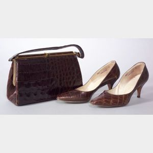 Bellestone Alligator Handbag and Pair of Lady's Mr. Kay Alligator Pumps
