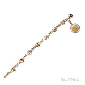 Antique 18kt Gold Gem-set Bracelet