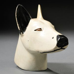 Folk Carved and Painted Wooden Dog Head