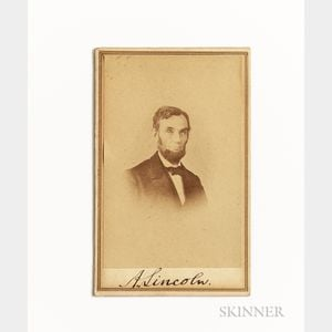 Sold for: $110,700 - Lincoln, Abraham (1809-1865) Signed Carte-de-visite.
