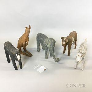 Five Papier-mache Animals