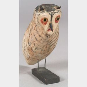 Carved and Painted Wooden Owl Figure