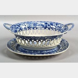 Blue Transfer Decorated Staffordshire Pottery Fruit Basket Tray