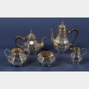 Assembled Five Piece Queen Anne Style Sterling Tete a Tete Tea and Coffee Service