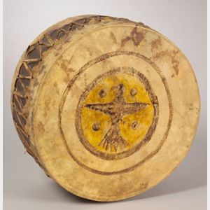Large Plains Wood and Rawhide Drum