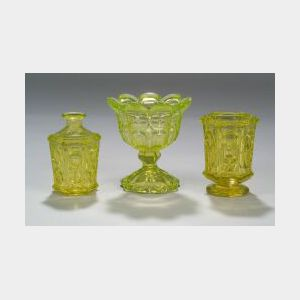 Three Yellow Pressed Glass Table Items