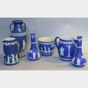 Wedgwood Dark Blue Jasper Dip Two-Handled Vase, a Pair of Bottle Vases, a Jug, Pitcher, and a Pot.