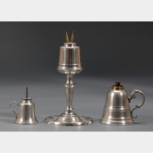 Three Pewter Fluid Lamps