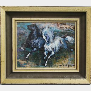 American School, 20th Century      Two Running Horses