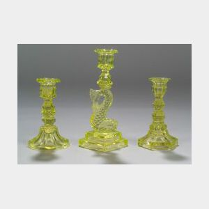 Three Canary Yellow Glass Candlesticks