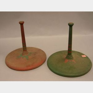 Pair of Paint Decorated Cast Iron Carnival Ring Toss Game Pylons.