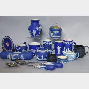 Fifteen Wedgwood Dark Blue Jasper Dip Utensils and Tableware Items, and Two Small Black Basalt Table Articles.