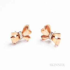 Pair of Retro 14kt Rose Gold Earrings