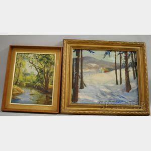 Raymond A. Ewing (American, 1891-1976)      Lot of Two Framed Landscapes: Summer Stream