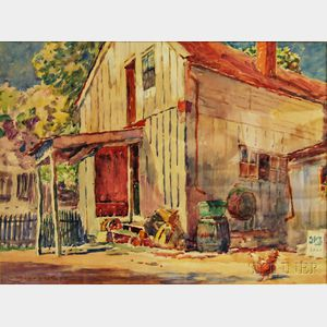 Clarence Scott White (American, 1872-1965)      Rooster in the Barnyard