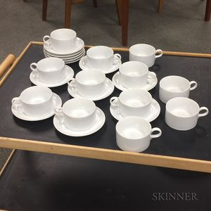 Twelve White Schmid Porcelain Teacups and Saucers.