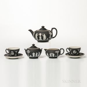 Seven-piece Wedgwood Black Jasper Dip Tea Set